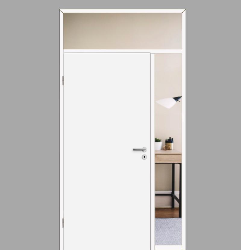 Windfang mit festem Seitenteil rechts & Oberlicht, für links gehangene  Zimmertür / Typ 14
