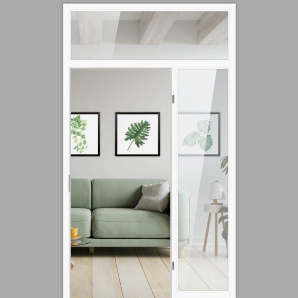 Windfang mit festem Seitenteil rechts & Oberlicht, für rechts gehangene Zimmertür / Typ 15