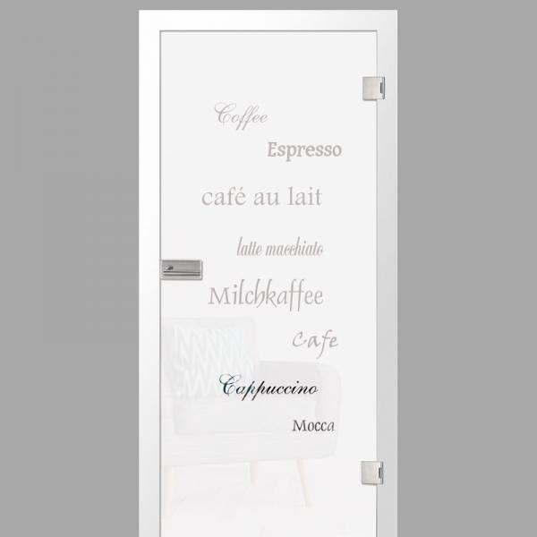 cafe 2 Motiv klar - Ganzglastüren / Glastüren mit Zarge Komplettset - Erkelenz