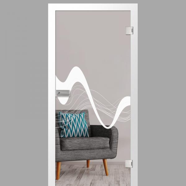 sinus 2 Motiv matt - Ganzglastüren / Glastüren mit Zarge Komplettset - Erkelenz