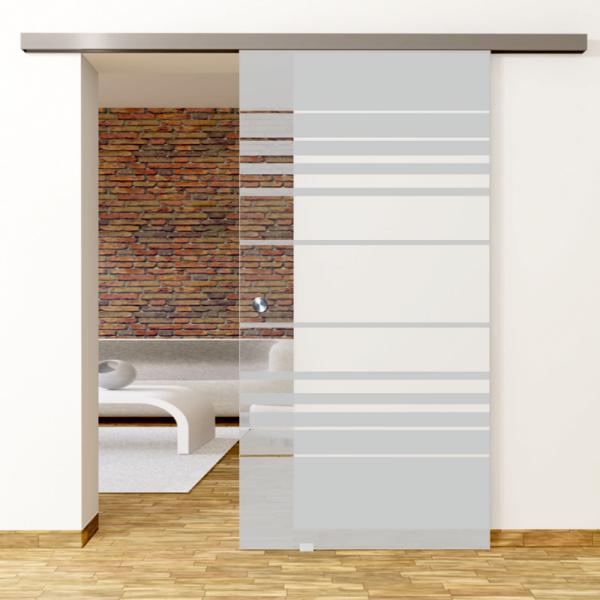 Selina Motiv Klar - Glasschiebetür - Set Komplett mit Softclose & Griff - Erkelenz Glas GmbH