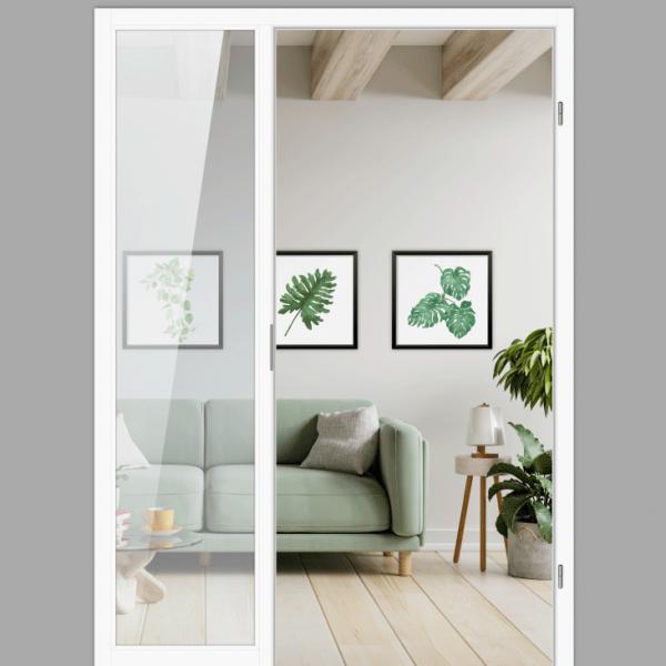 Windfang mit festem Seitenteil links, für rechts gehangene Zimmertür / Typ 4