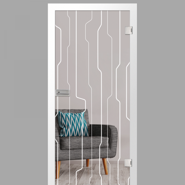 curves Motiv matt - Ganzglastüren / Glastüren mit Zarge Komplettset - Erkelenz