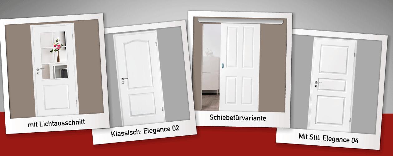 Kompletset : Weiße Zimmertüren mit Zarge
