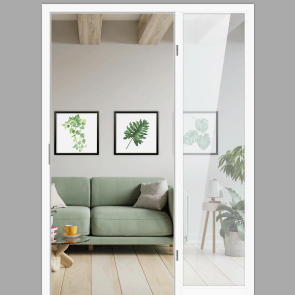 Windfangelement mit Seitenteil für Zimmertüren DIN rechts - Blockrahmen  / Typ 06