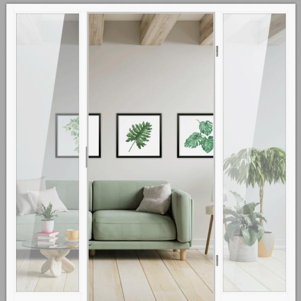 Windfang mit festem Seitenteil beidseitig, für rechts gehangene Zimmertür / Typ 8