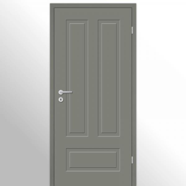 Cala 03 - Q Landhaustür / Stiltür mit Zarge RAL 7037 Lavagrau
