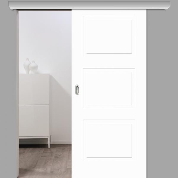 Cala 03 Schiebetür mit Softclose & Laufschiene Landhaustür RAL 9010