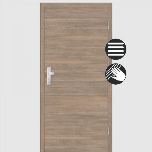 Lärche Tabak Wohnungstüren / Schallschutztüren mit Zarge CPL Maserung Quer