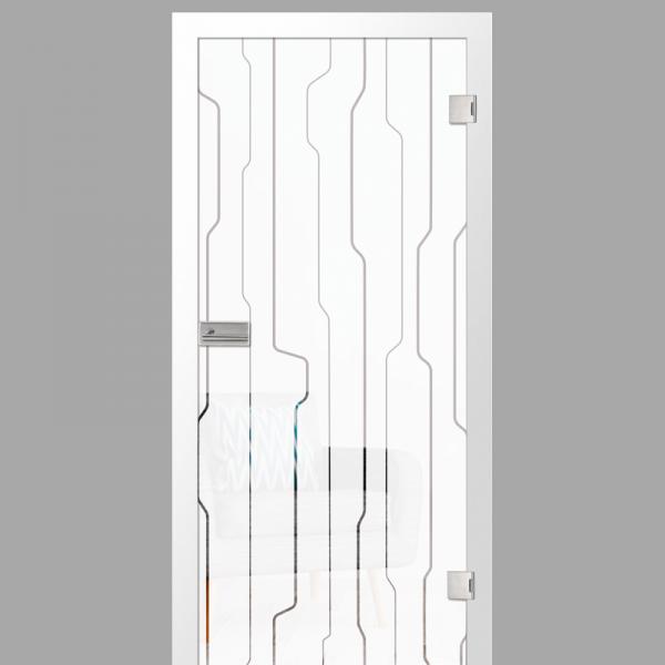 curves Motiv klar - Ganzglastüren / Glastüren mit Zarge Komplettset - Erkelenz