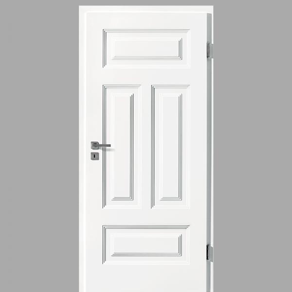 Finesse 41 Landhaustür / Stiltür mit Zarge RAL 9016 CPL Weißlack