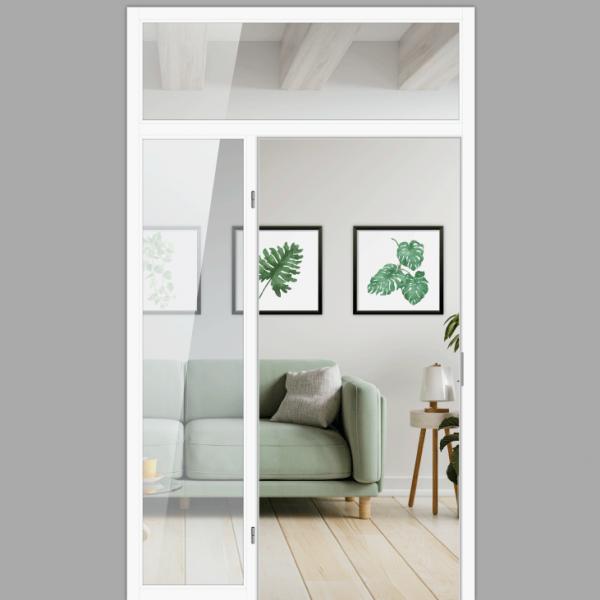 Windfang mit festem Seitenteil links & Oberlicht, für links gehangene Zimmertür / Typ 12