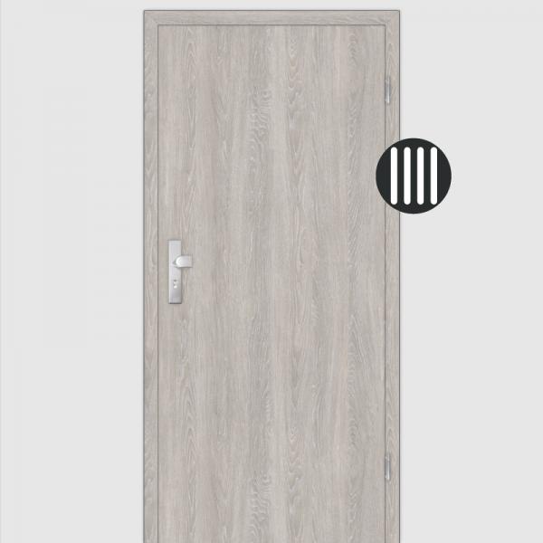 Eiche grau gekälkt Wohnungstüren / Schallschutztüren mit Zarge CPL Maserung Aufrecht