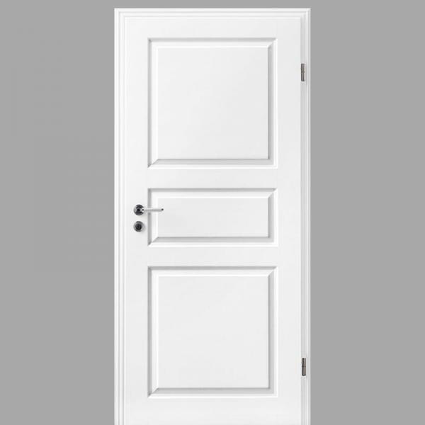Elegance 04-Q Landhaustür / Stiltür mit Zarge RAL 9010 CPL Weißlack