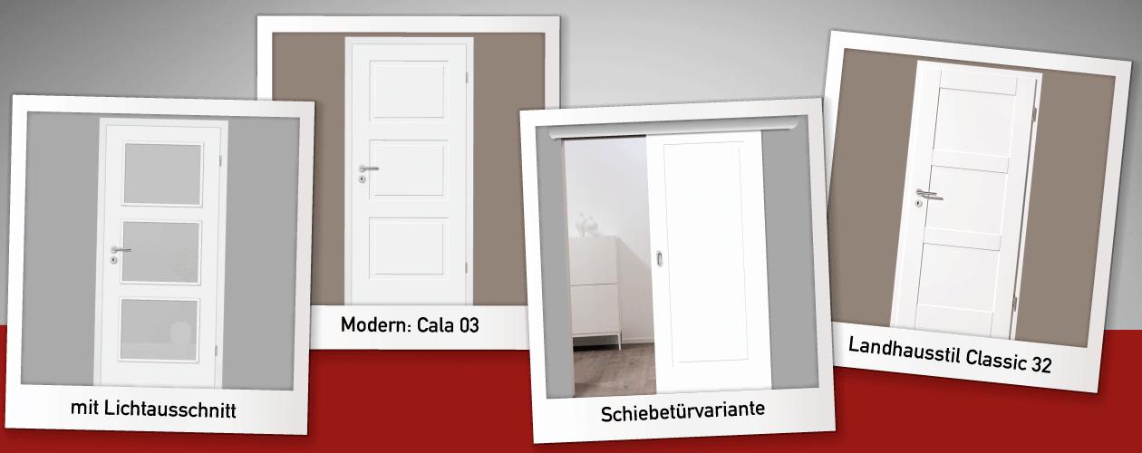 Kompletset: Weiße moderne Landhaustüren
