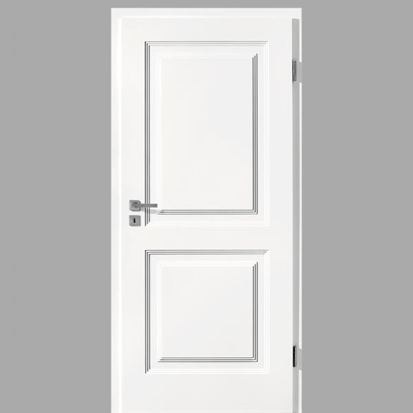 Finesse 20 Landhaustür / Stiltür mit Zarge RAL 9016 CPL Weißlack