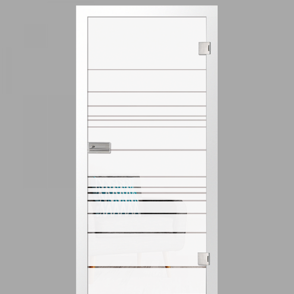 quer Motiv klar - Ganzglastüren / Glastüren mit Zarge Komplettset - Erkelenz