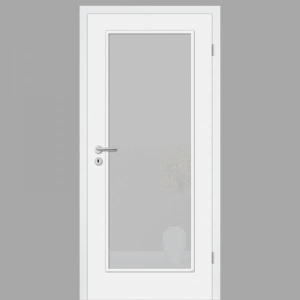 Cala 01 Landhaustür / Stiltür mit Zarge RAL 9010 CPL Weißlack mit Verglasung
