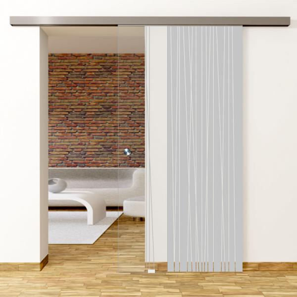 Linie 1 Motiv Matt - Glasschiebetür - Set Komplett mit Softclose & Griff - Erkelenz Glas GmbH