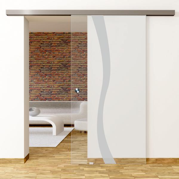 Bergamo Motiv Matt - Glasschiebetür - Set Komplett mit Softclose & Griff - Erkelenz Glas GmbH