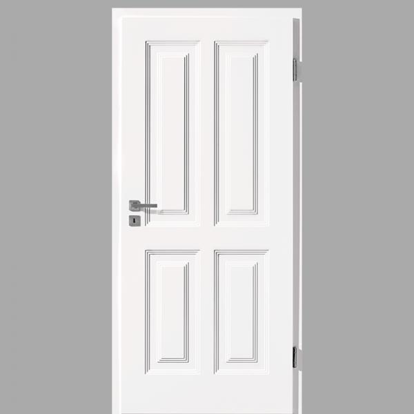 Finesse 40 Landhaustür / Stiltür mit Zarge RAL 9016 CPL Weißlack