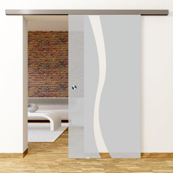 Bergamo Motiv Klar - Glasschiebetür - Set Komplett mit Softclose & Griff - Erkelenz Glas GmbH