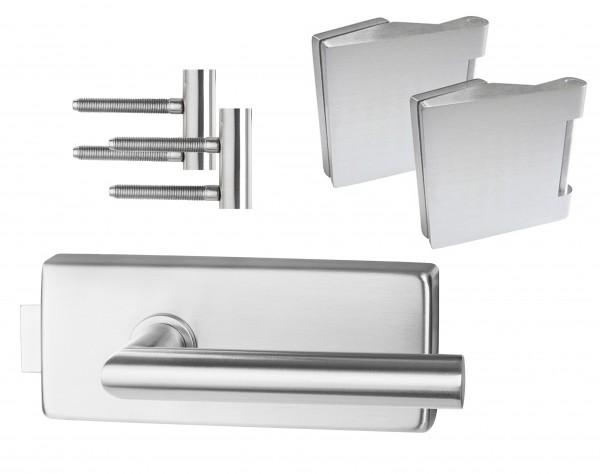 Glastürbeschlag : Piazza inkl. Bänder- Edelstahl - Beschlagset für Glastüren - Südmetall GmbH