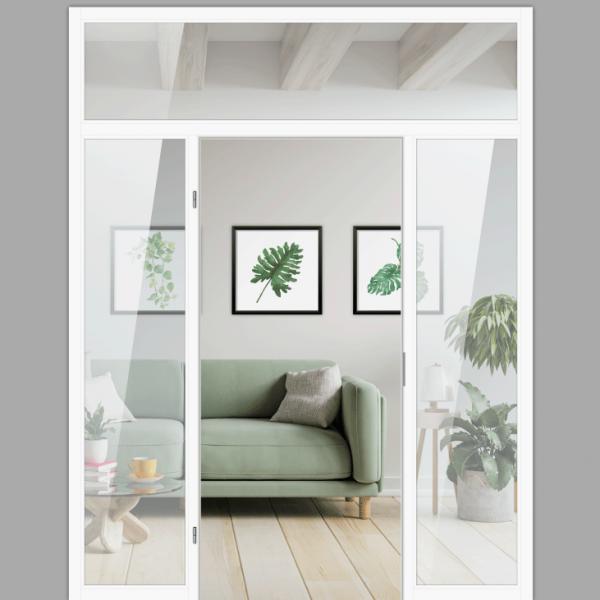 Windfang mit festem Seitenteil beidseitig & Oberlicht, für links gehangene Zimmertür / Typ 16