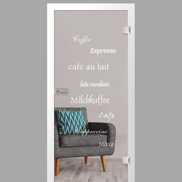 cafe 2 Motiv matt - Ganzglastüren / Glastüren mit Zarge Komplettset - Erkelenz