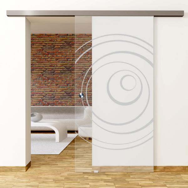 Lira Motiv Matt - Glasschiebetür - Set Komplett mit Softclose & Griff - Erkelenz Glas GmbH