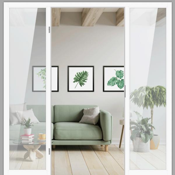 Windfangelement mit zwei Seitenteil für Zimmertüren DIN links - Blockrahmen  / Typ 07