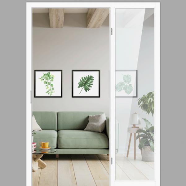 Windfang mit festem Seitenteil rechtsseitig , für Zimmertüren DIN rechts  / Typ 6