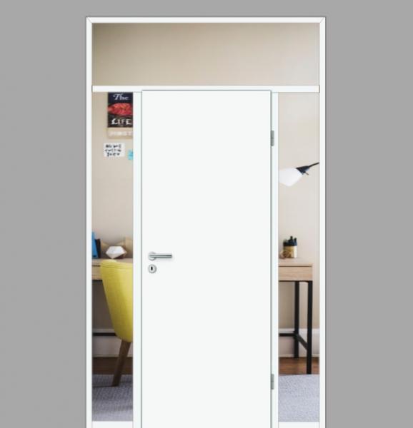 Windfang mit festem Seitenteil beidseitig & Oberlicht, für rechts gehangene Zimmertür / Typ 17