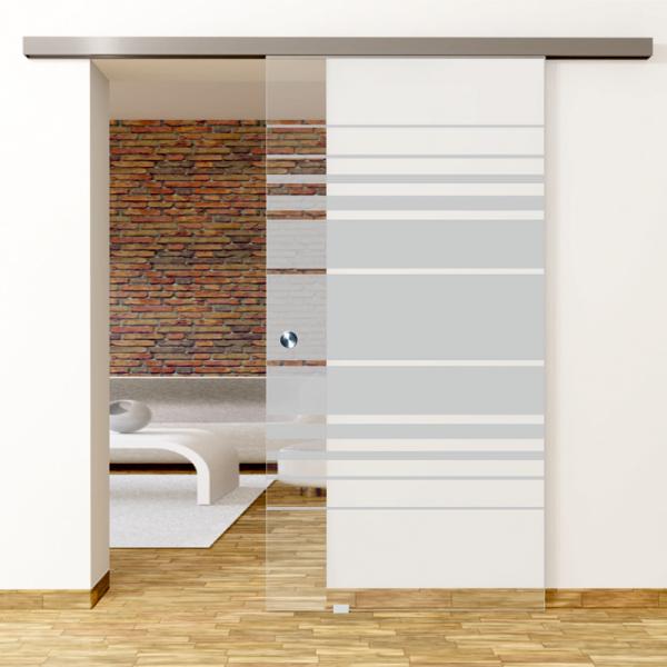 Selina Motiv Matt - Glasschiebetür - Set Komplett mit Softclose & Griff - Erkelenz Glas GmbH