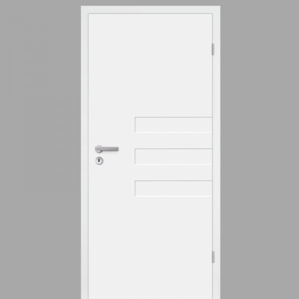 Pura 03 Zimmertür / Innentür RAL 9010 mit Zarge CPL Weißlack