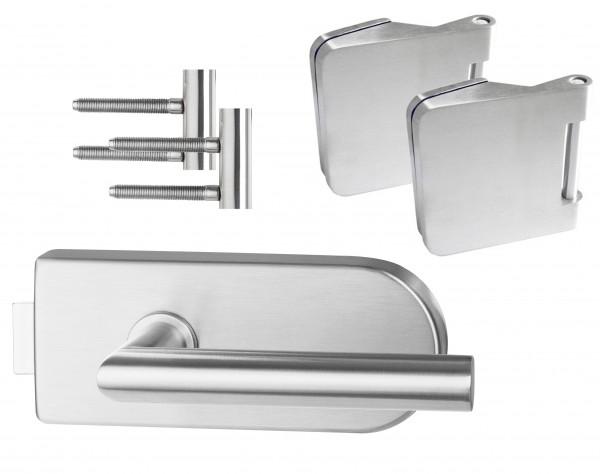 Glastürbeschlag : Tondo inkl. Bänder- Edelstahl - Beschlagset für Glastüren - Südmetall GmbH
